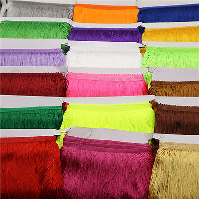 (10meters) 20 CM long tassel fringe polyester lace bow sewn Latin skirt stage