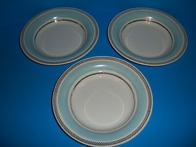 3 American Limoges Candle Light Lyceum Blue LC Rimmed Soup Bowls USA Gold