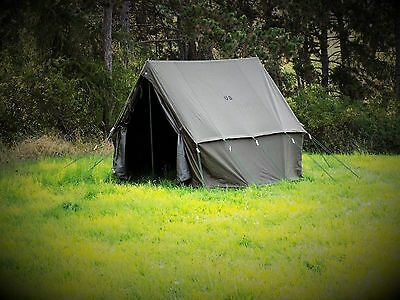 WW2 US Army Olive Green US Small Tent Wax Canvas Camping Shelter Kit Repro New