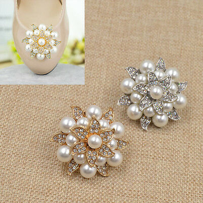1 Pc Crystal Pearl Flower High-heel Buckle Rhinestone Bridal Shoe Clip Removable
