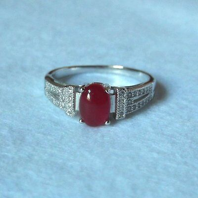Bague Onyx Rouge Ovale et Topazes Blanches, Argent Massif 925, Taille 61
