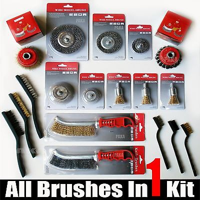 All in 1 - WIRE BRUSH ASSORTED KIT – HAND/ WHEEL/ CUP BRUSH - Cleaner Kit