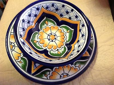 """8"""" plate & small bowl Mexico Lead Free in Talavera Style - Excellent Condition"""