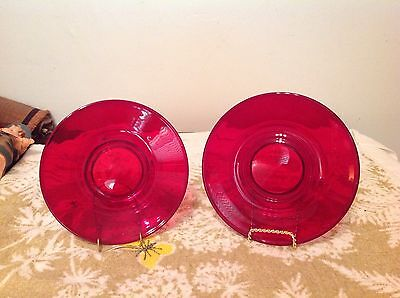 2 Paden City Penny Line Ruby Red Saucers