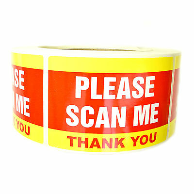 "Yellow and Red ""Please Scan Me Thank You"" Stickers - 3"" by 2"" - 500 ct - SL082F"