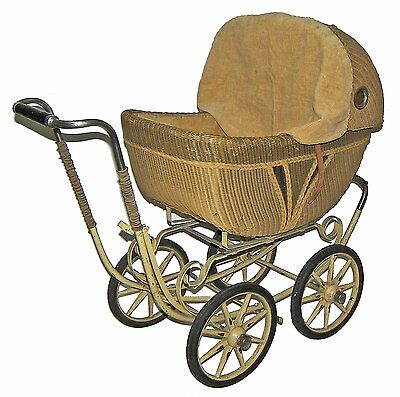 Vintage Lloyd's Rattan Wicker Baby Buggy-British Style Pram! Push Doll Carriage