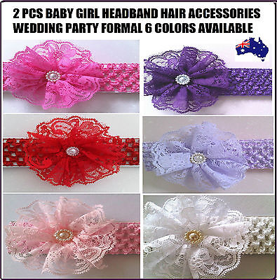 2 Pcs Baby Girl Hair Headband Accessories Head Bands Flower Christening Party
