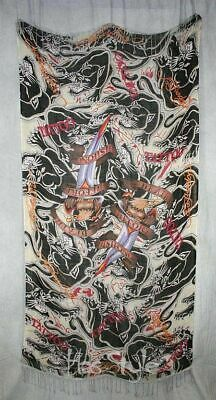 NWT ED HARDY Yellow Butterfly Cotton Scarf Wrap Skull Red Heart Love Hurts