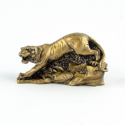 Chinese Zodiac Golden Tiger Statue Figurine Feng Shui Animal Bronze Color 4in