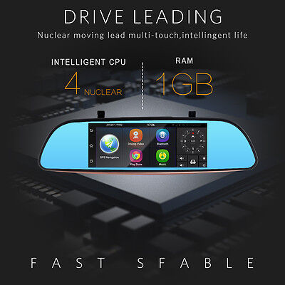 """7"""" Android Wifi Full HD RearView Mirror GPS WIFI Car DVR Dual Camera Recorder"""