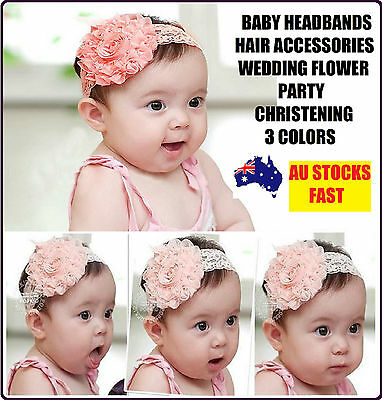 Baby Girl Girls Hair Headband Accessories Head Bands Flower Christening Party