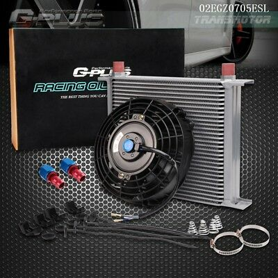"""30 Row Universal  Oil Cooler AN-10AN + Fittings / Hose End + 7"""" Electric Fan Kit"""