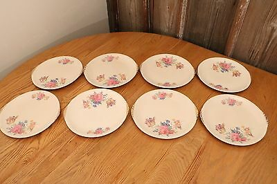 "Paden City Pottery Rosalee China Dinner Plate 10"" Set Of 8 Made in USA 1930s"