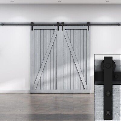 Rustic Antique Modern Style Black Double Barn Wood Steel Sliding Door Hardware