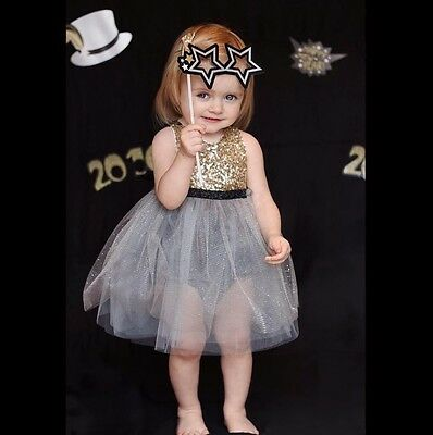 New Vintage Baby Girl Sparkly Lace TuTu Dress Toddler Size:1,2,3,4,5,6 Gift