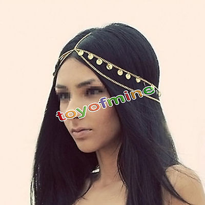 Gold Metal Rhinestone Chain Jewelry Headband Head Piece Hair band Women