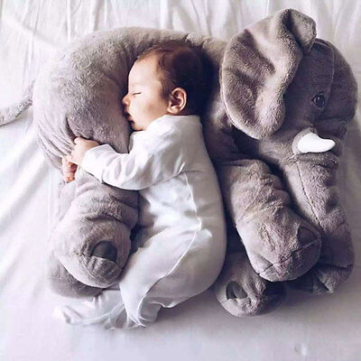 Large Baby Kids Toddler Stuffed Elephant Plush Pillow Cushion Nursery Toy Doll
