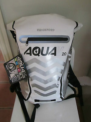 Oxford Aqua V20 White Motorcycle Scooter Backpack Rucksack New OL996