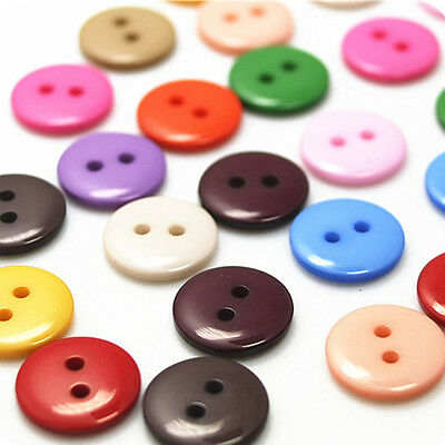 100Pcs Plastic Sewing Buttons Scrapbook 15mm 2 Holes for Craft DIY Buttons