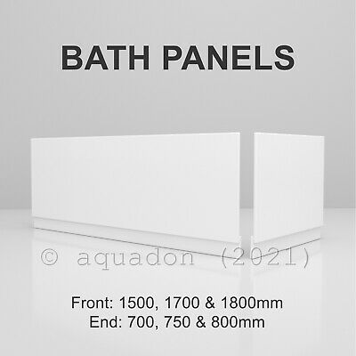 High Gloss White MDF Wooden Bath Adjustable Panel & Plinth Front End Many Sizes