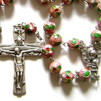 PINK CLOISONNE ROSE BEADS 5 DECADE ROSARY CROSS crucifix catholic necklace GIFT