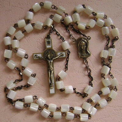 Vintage Mother of Pearl Beads CATHOLIC ROSARY & bronze Crucifix/Cross NECKLACE