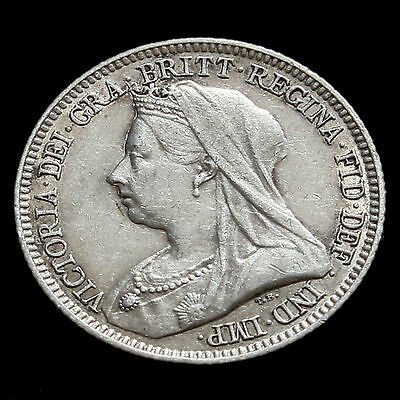 1893 Queen Victoria Veiled Head Silver Sixpence