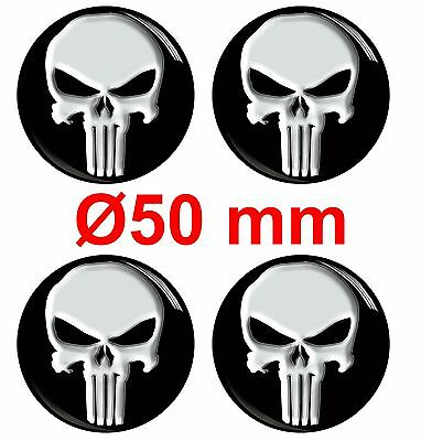 4 x 50mm CENTRE DOMED STICKERS AUTO WHEEL FOR HUB CAPS PUNISHER TUNING A 10