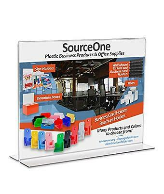 Source One 11 x 8.5 Inches Sign Holder Upright Clear Acrylic Display Ad Frame (S