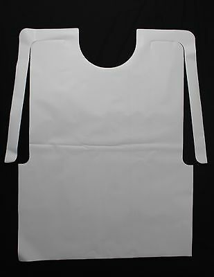 25 Pack Of Disposable Plastic White Adult Bibs Free Shipping