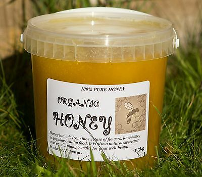 100 PERCENT  PURE RAW ORGANIC HONEY 1.5kg  UNFILTERED  UNHEATED   HARVESTED 2016