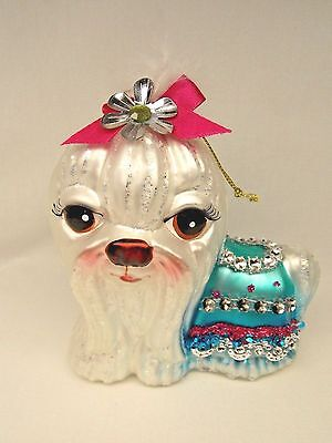 Maltese Dog Fancy Dress Glass Christmas Tree Ornament 4 1/2In String to hang
