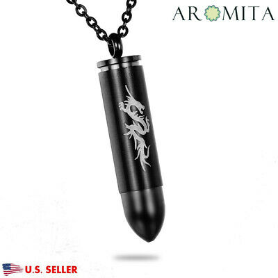 Large Black Bullet Cremation Jewelry Keepsake Memorial Urn Necklace 50 x 10 mm