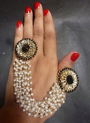 2 Pcs Combo Antique Gold Plated Black Adjustable Finger Ring Pearl Chain Style