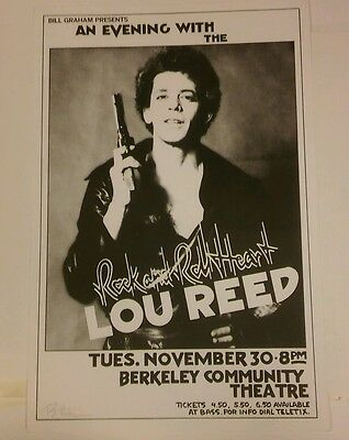 LOU REED Rare 1976 Concert Poster signed by Randy Tuten velvet underground bowie