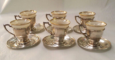 Set of 6 Sterling Silver Demitasse Cup & Saucers with vintage Lenox China Insert