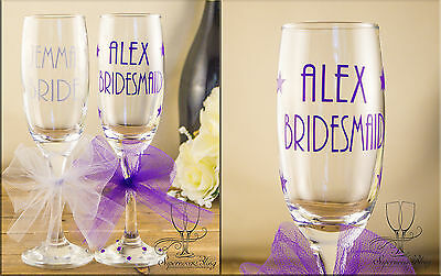 Personalised wedding champagne glass bride bridesmaid gift any colour name STARS