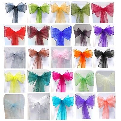 50 X Organza Sashes Chair Cover Bow Sash WIDER FULLER BOWS Wedding Party