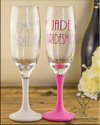 Personalised Glitter champagne glass bride bridesmaid gift any colour name STARS