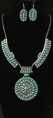 Authentic Native American Navajo Indian Jewelry Silver Turquoise Necklace Set.