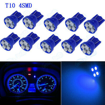 10Pcs T10 4-SMD LED W5W 194 Blue Light Car Speedometer Instrument Dash Lamp XB