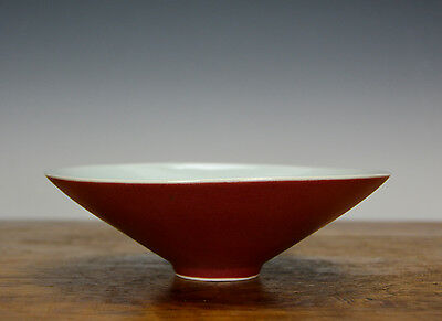 Fine Chinese Qing Sand de Boeuf Red Glazed Porcelain Bowl From Royal Kitchen