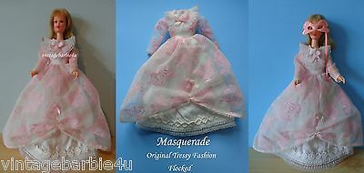 Ultra RARE VTG Barbie Tressy Doll Masquerade Dress White Pink Flocked Hong Kong