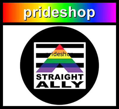 Straight Ally Metal Button Badge 2.25 inch Diameter Gay Lesbian Str8 Pride #1090