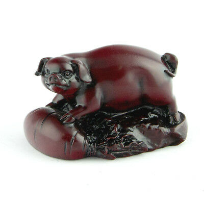 Chinese Horoscope Zodiac Pig Statue Boar Figurine Feng Shui Animal Redwood Color