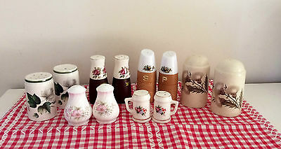 Six vintage floral salt and pepper sets, four porcelain,two other, collectable