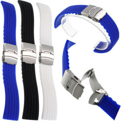 20/22mm Waterproof Silicone Rubber Watch Strap Band Deployment Buckle