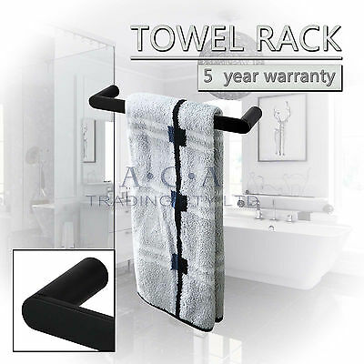 300mm Hand Towel Rail Rack Ring Single Bar Stainless Steel Black Wall Holder NEW