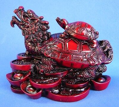 Feng Shui Red Dragon Turtle Tortoise Sitting on Chinese Coin and Baby on the Top