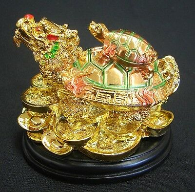 Feng Shui Colorful Chinese Dragon Turtle Tortoise with Baby and Chinese Coins